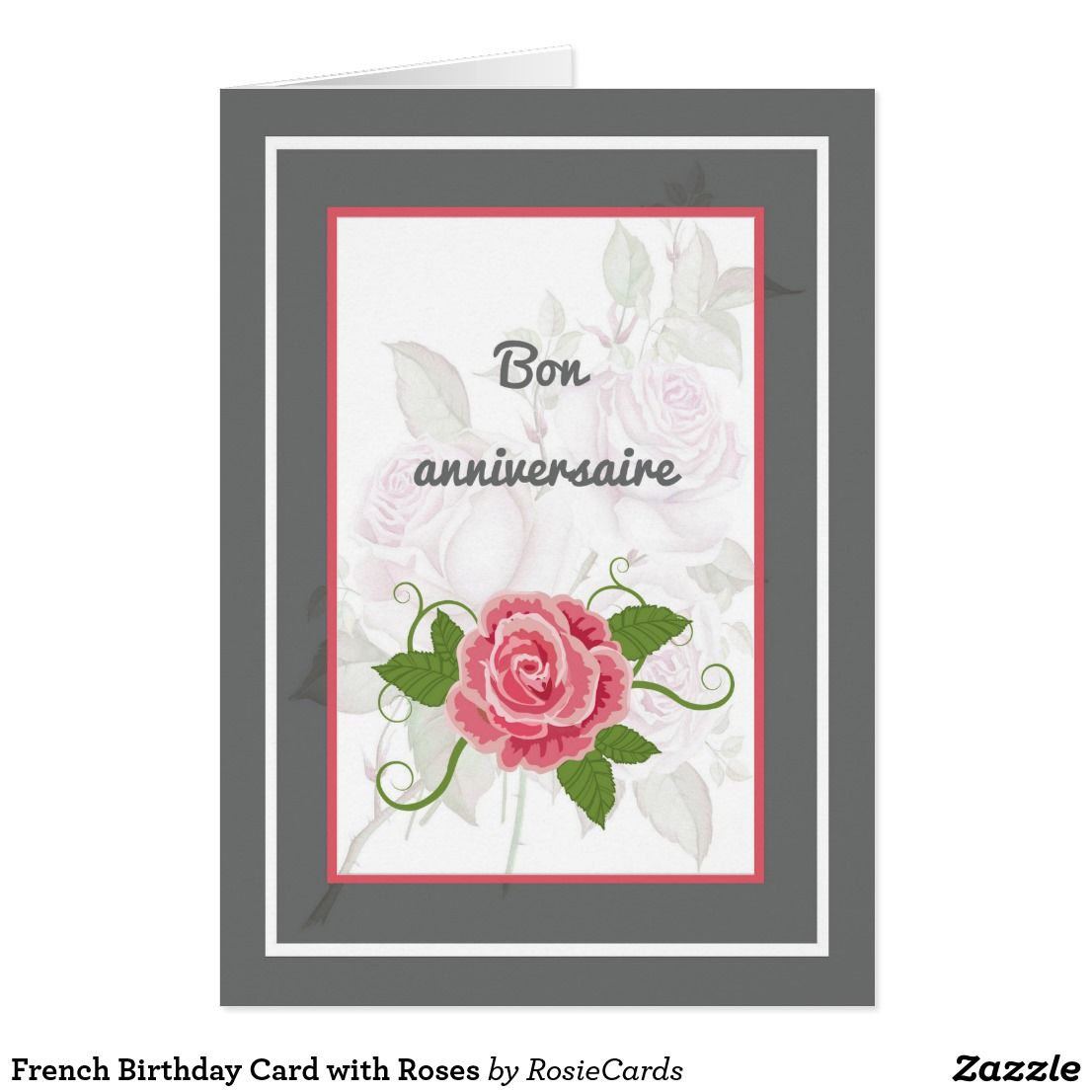 French Birthday Card With Roses