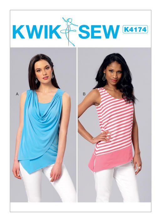 Kwik Sew Knit Tops Sewing Pattern K4174 Misses Front Drape Or