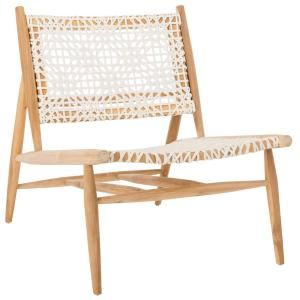 Safavieh Bandelier Off White Natural Leather Accent Chair