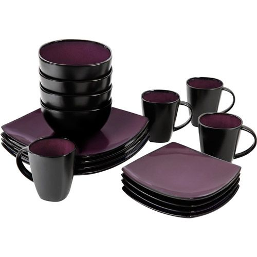 kitchen dish sets faucet brushed nickel dark purple and black set soho lounge square 16 piece dinnerware