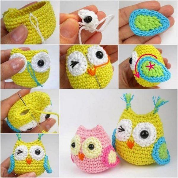 Hoy os presento fantásticos búhos multicolores hechos a crochet, muy ...