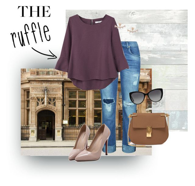 """""""Downtown Afternoon"""" by redreader4 ❤ liked on Polyvore featuring WallPops, 7 For All Mankind, MANGO, WithChic, Chloé, Michael Kors, FOSSIL, Barneys New York and ruffles"""