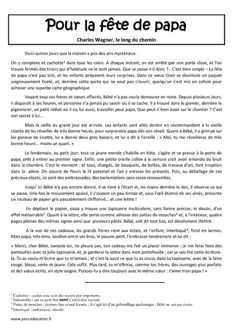 Pour la f te de papa texte lecture compr hension cm1 cm2 cycle 3 pass education - Origine de la fete de noel ...