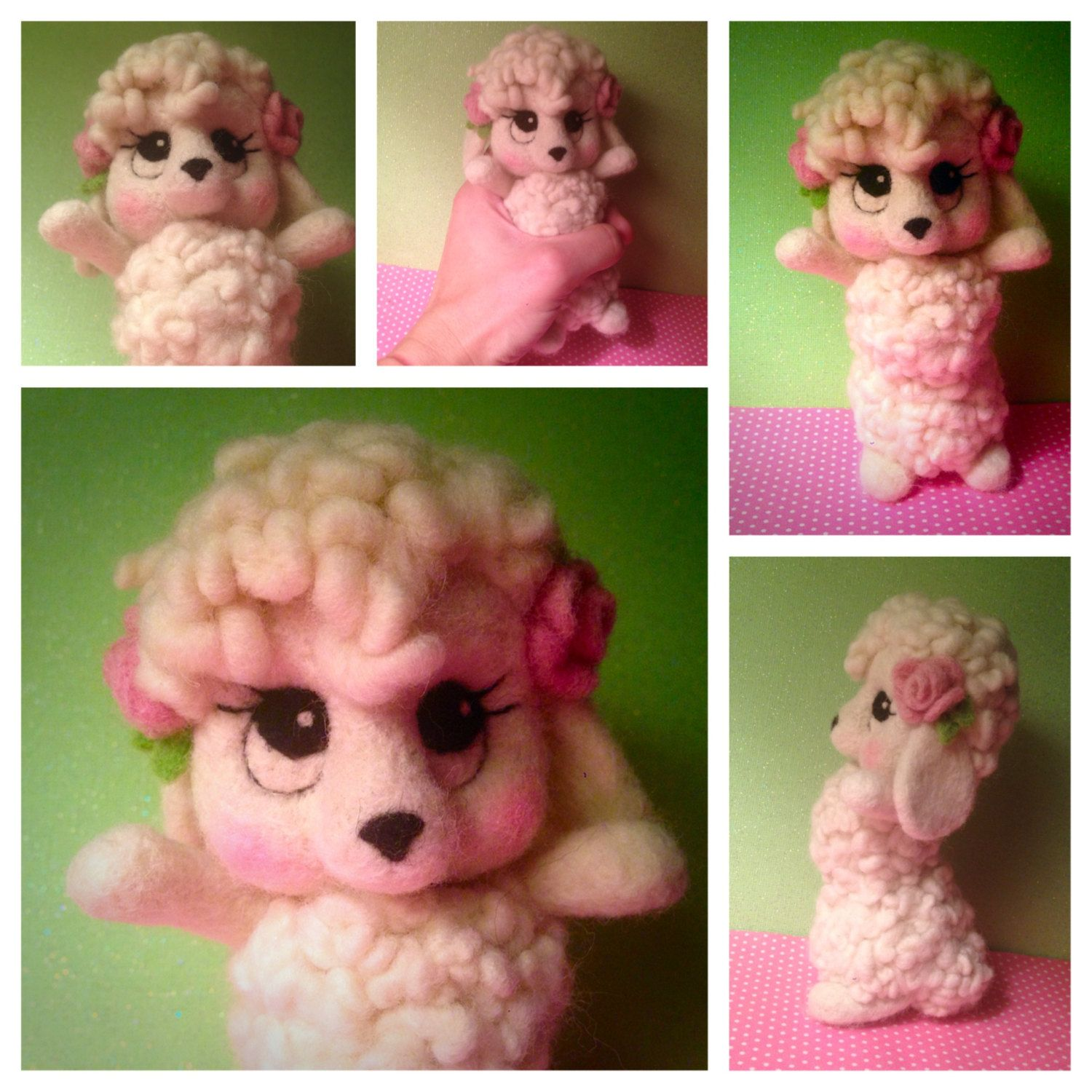 Needle Felted White Dog Soft Sculpture One of A Kind Art Doll Poodle Dog by MelaniesMenagerie on Etsy