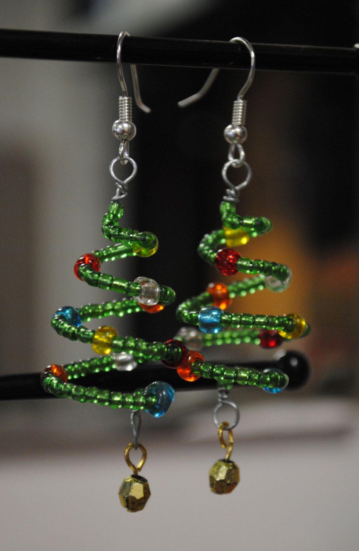Photo of Christmas Tree Earrings, Holiday Beaded Jewelry