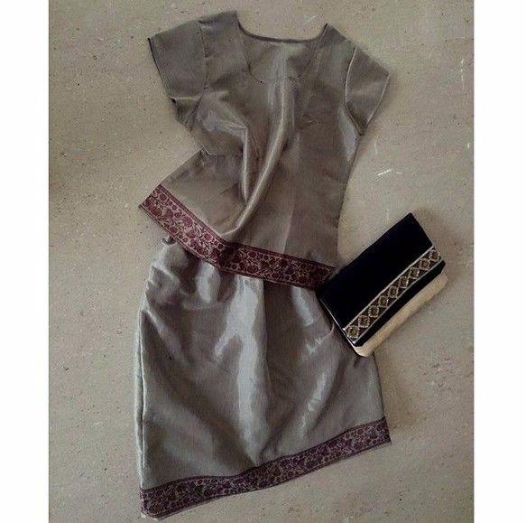 ★春待つ、モスグリーン★サリーで作ったドレス