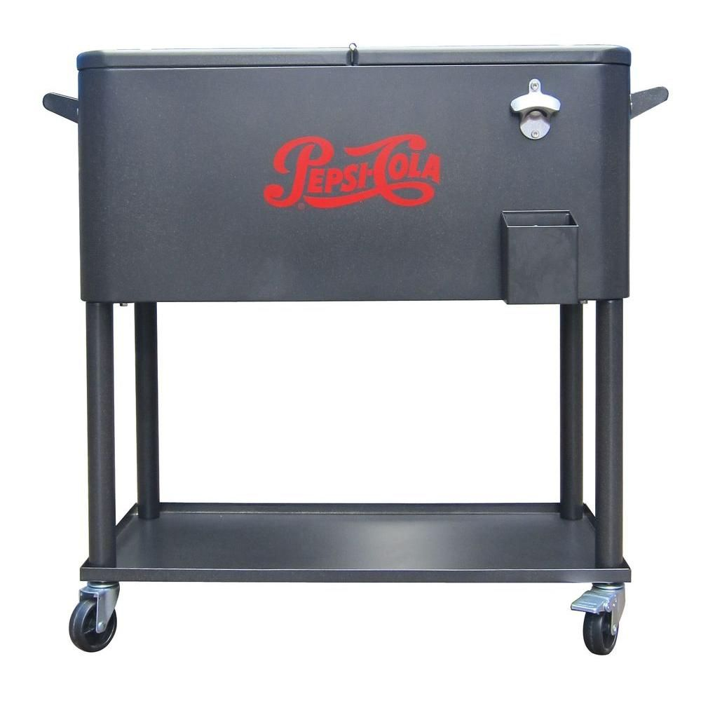 The 80 Qt. Steel Patio Cooler Cart Will Make An Elegant Addition To Your  Outdoor Setting. This Cooler Cart Will Specially Come In Handy When You Are  ...