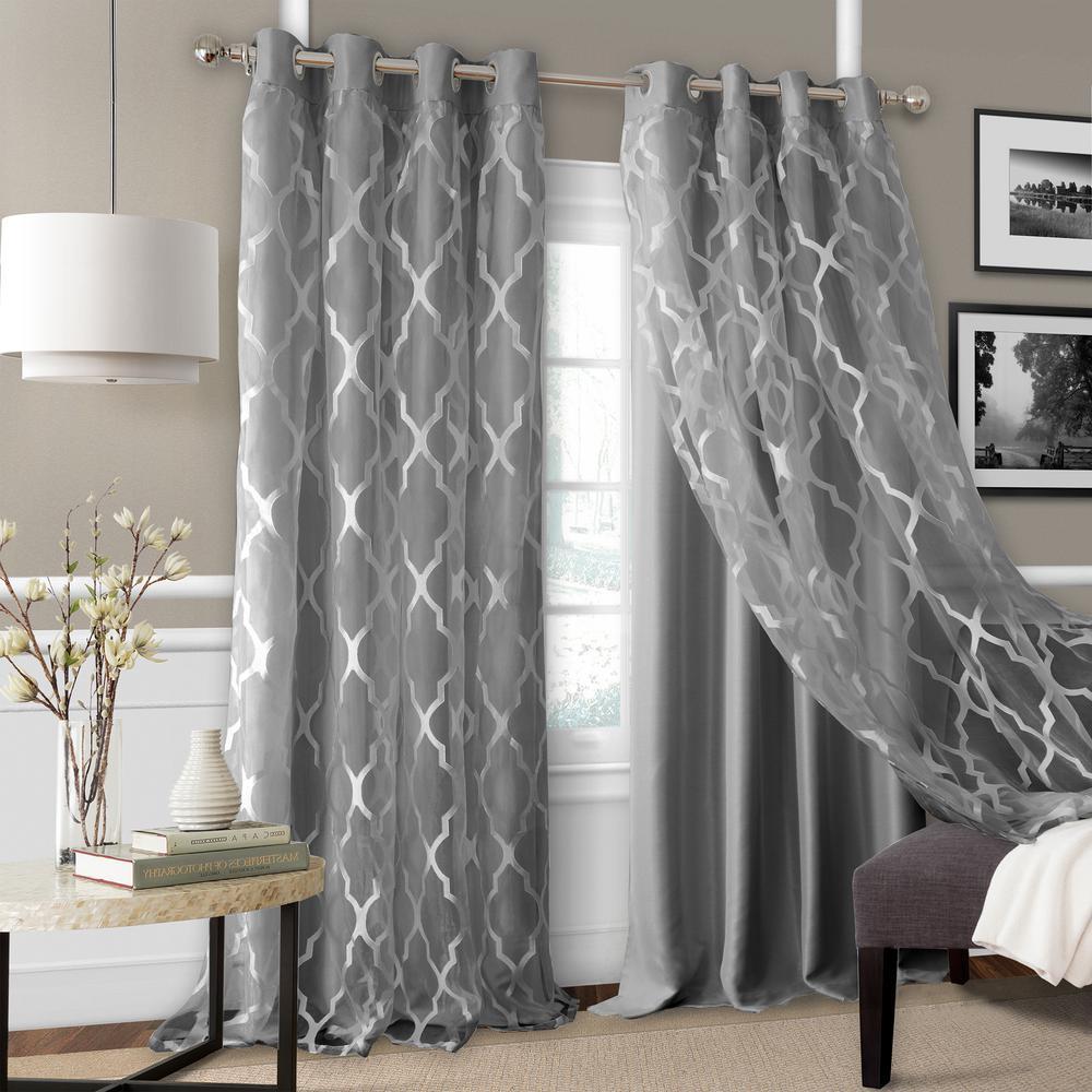 Elrene Bethany Sheer Overlay Blackout Window Curtain 23032gry