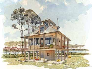 Tidewater Retreat From The Southern Living Hwbdo55410 Tidewater House Plan From Builderhouseplans Com Coastal House Plans Beach House Plans House On Stilts