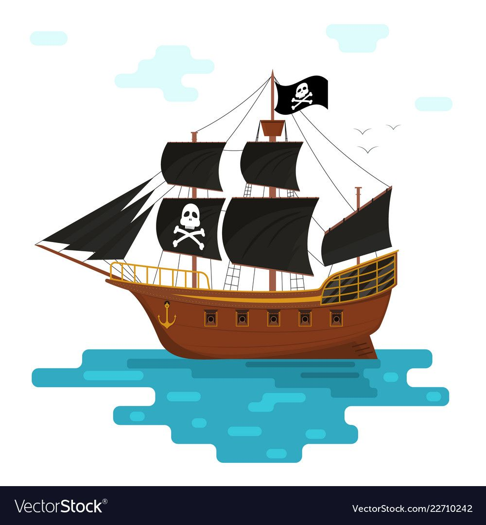 Cartoon Pirate Ship With Black Sails Vector Image On