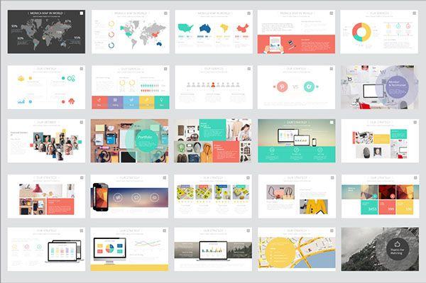 monica presentation template on behance ppt design pinterest