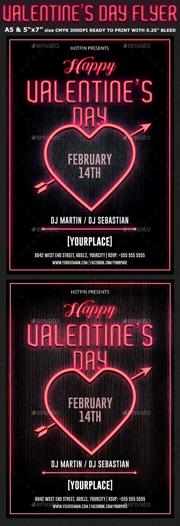 Neon Valentines Day Flyer Template Is Very Modern Flyer That Will