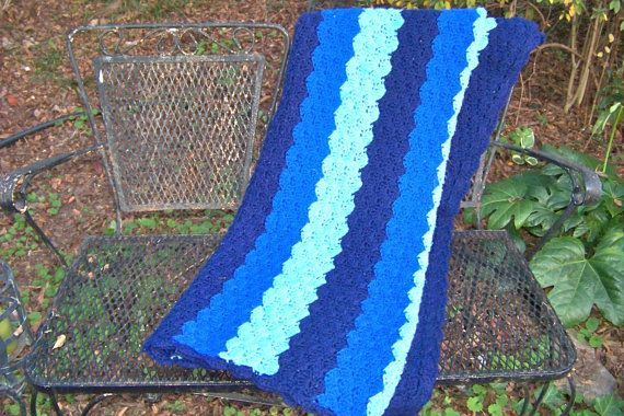 I have one very similar that was a thrift store find.:)-Vintage Crochet Afghan Throw Blanket Many Blues by RamshackleVilla, $25.00