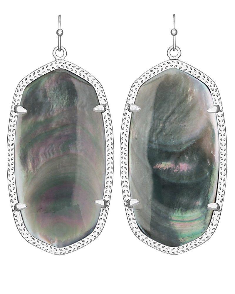 Danielle Silver Earrings In Black Pearl  Kendra Scott Jewelry