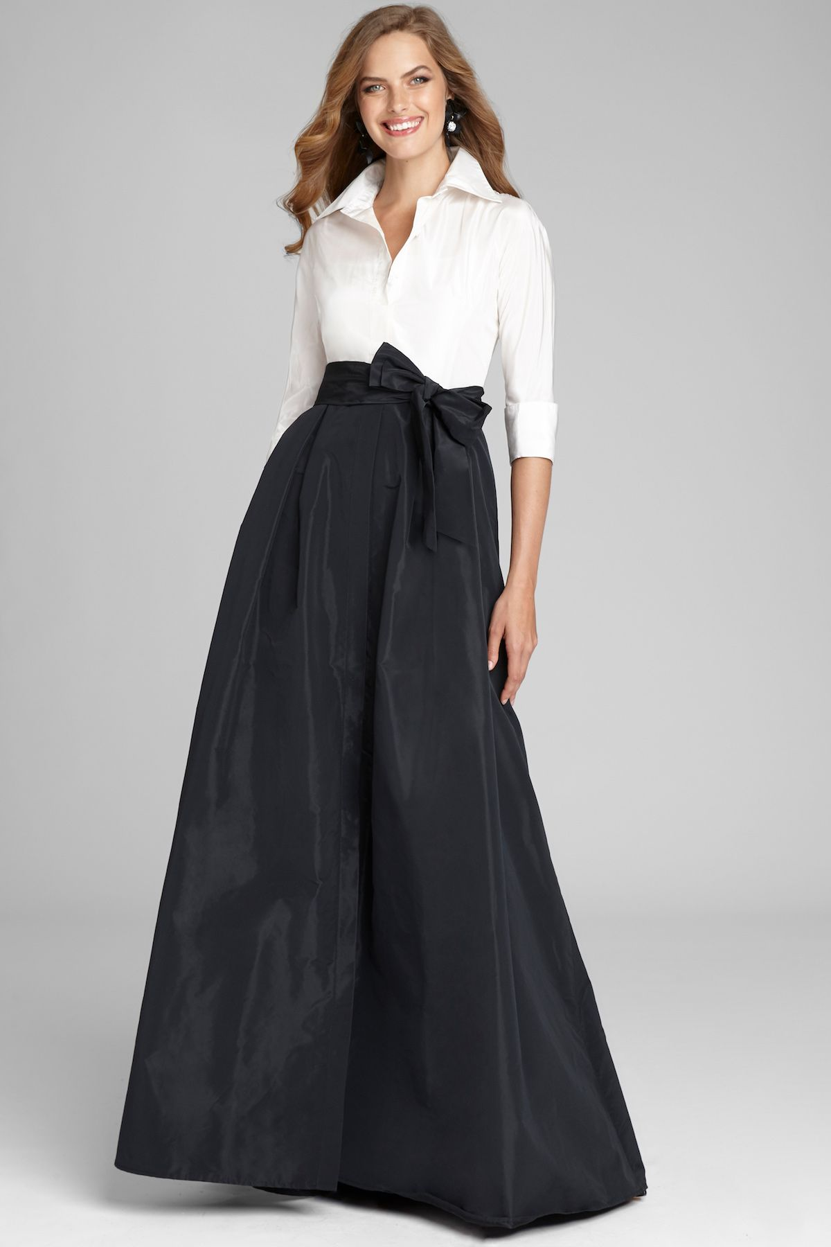 3 4 Sleeve Taffeta Shirt Waist Color Block Gown Mother Of The Bride Dresses Long Gowns Long Sleeve Evening Gowns [ 1800 x 1200 Pixel ]
