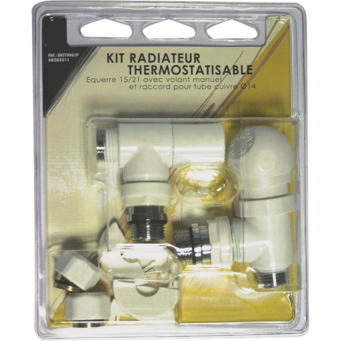 Kit Robinet Thermostatique Equerre 15 23 Male Femelle Laiton Blanc Ecopro Robinet Thermostatique Thermostatique Et Robinet