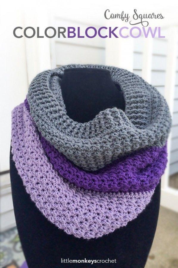 Color block cowl free crochet pattern from Little Monkeys Crochet ...