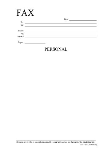 This Printable Fax Cover Sheet Is Labeled Personal And Includes A Line  Explaining That It Should Be Disregarded If Received In Error.