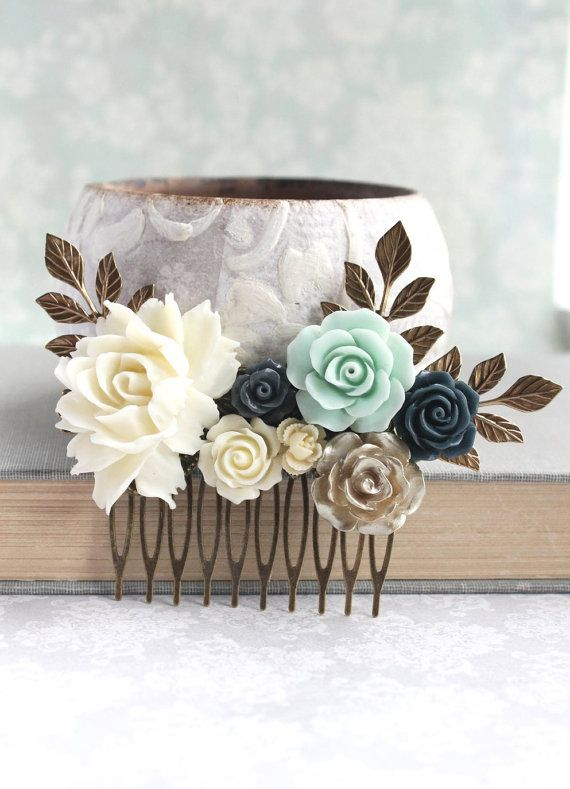 Bridal Hair Comb Big Rose Comb Navy and Mint by apocketofposies