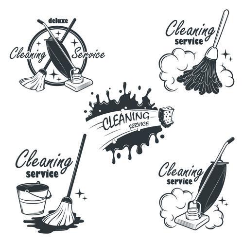 Vintage cleaning service labels vector 02 Takarítás