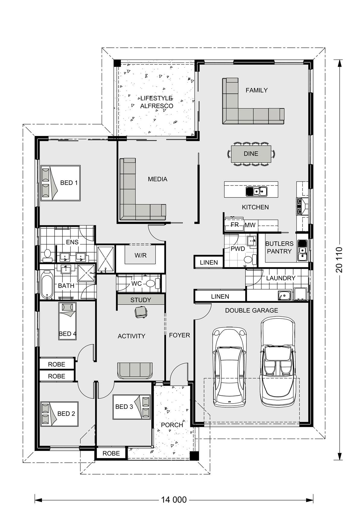 Gj gardner house plans hawkesbury 255 our designs orange for Gardner floor plans