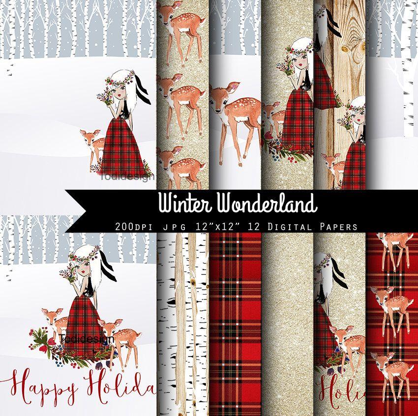 Christmas Wonderland 2020 Download Winter Wonderland Christmas Digital Scrapbook Papers  lumberjack