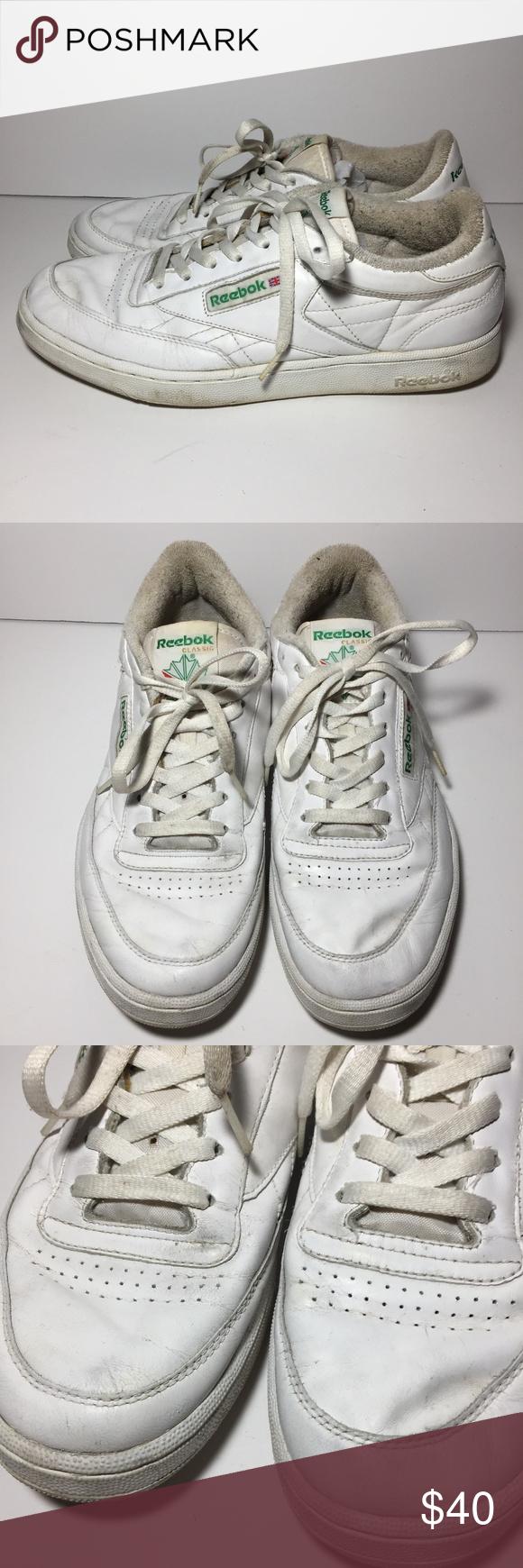 c9de3a0b39e753 Vintage Reebok Classic Club C 85 Shoes White 10.5 Preowned vintage Reebok  Classic Club C 85 solid white with green logo shoes men s size 10.5 Wide 2E  ...