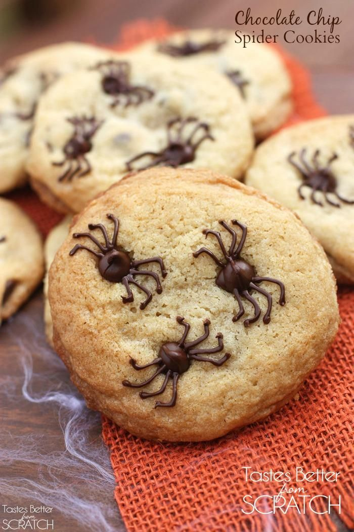 Chocolate Chip Spider Cookies make the perfect fun and easy - cute easy halloween treat ideas