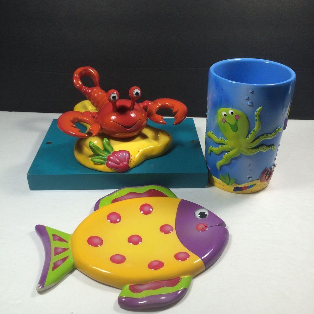 Bathroom Accessories Set Kids Sea Life Ocean Toothbrush Holder Cup