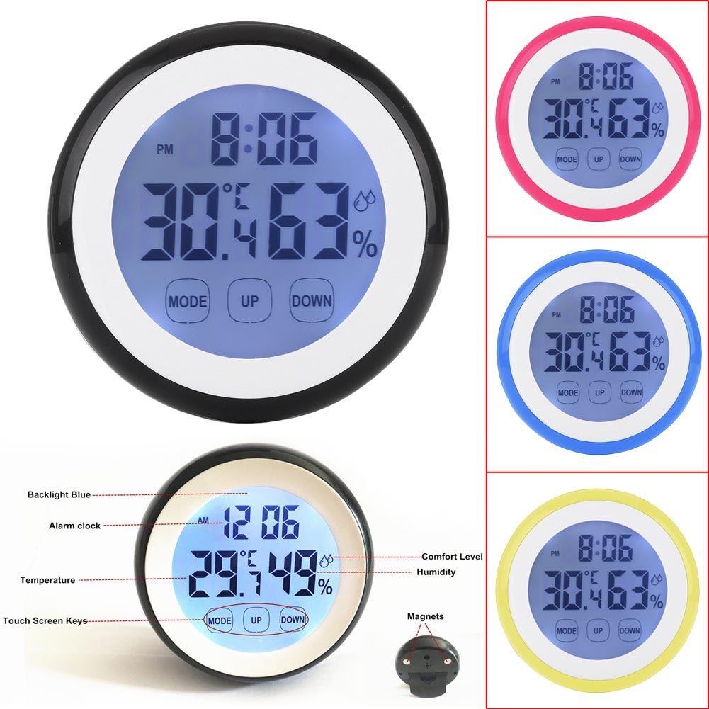 Digitale LCD Termometro Igrometro Elettronico della Temperatura Misuratore di Umidità Stazione Meteo Indoor Tester Time Clock Con Retroilluminazione