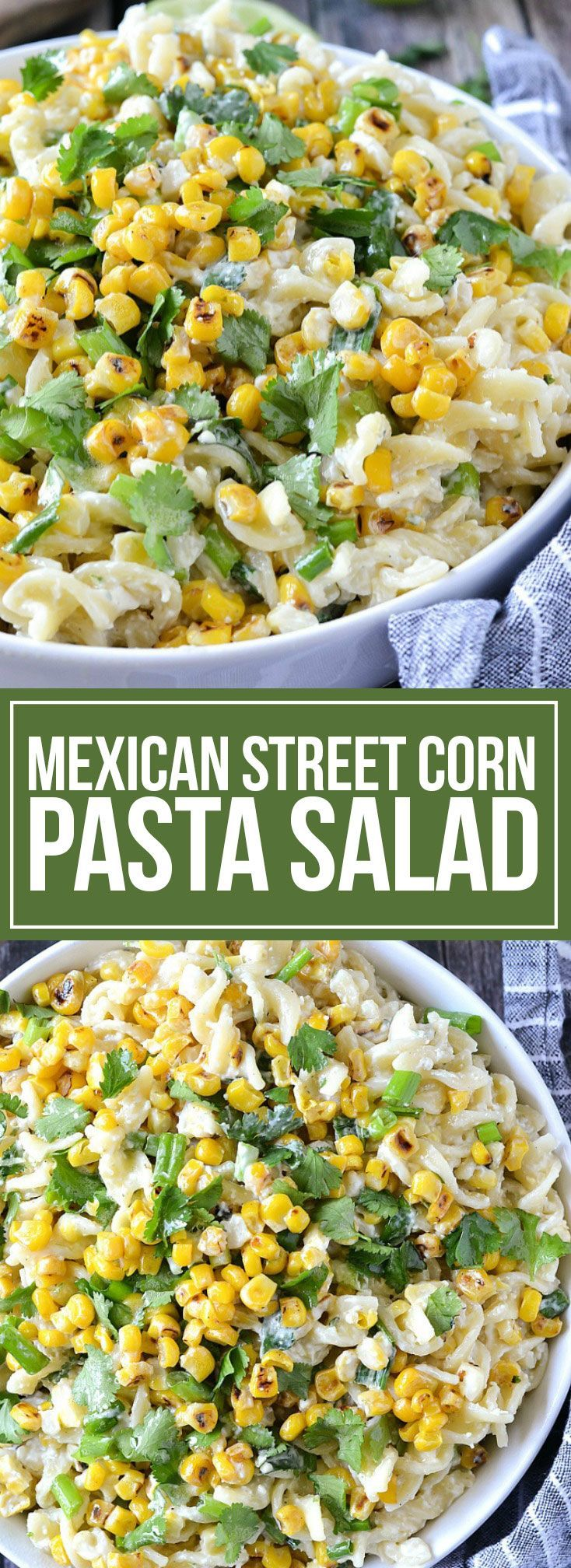Street Corn Pasta Salad An easy recipe for Mexican Street Corn Pasta Salad loaded with grilled corn and pasta and tossed in an irresistible sauce!An easy recipe for Mexican Street Corn Pasta Salad loaded with grilled corn and pasta and tossed in an irresistible sauce!