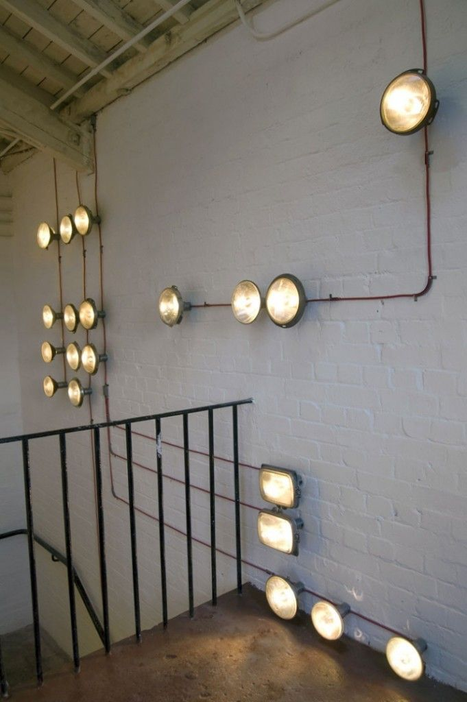 cool lighting design. upcycle old car headlights this would be cool in an auto shop lighting design 6