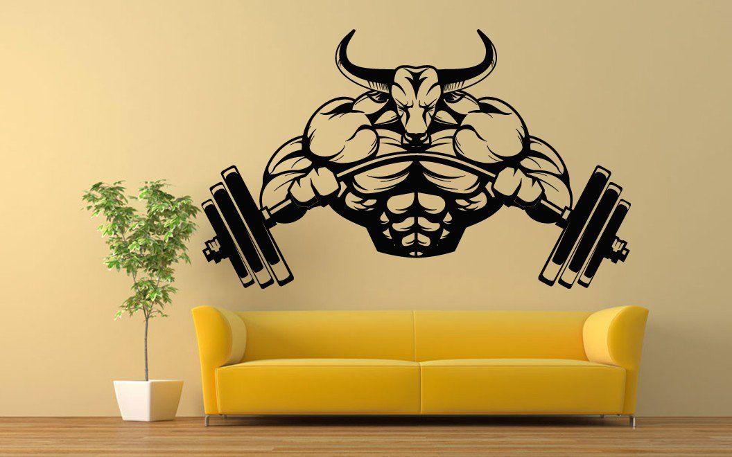 Wall Room Decor Art Vinyl Sticker Mural Decal Body Builder Bull ...