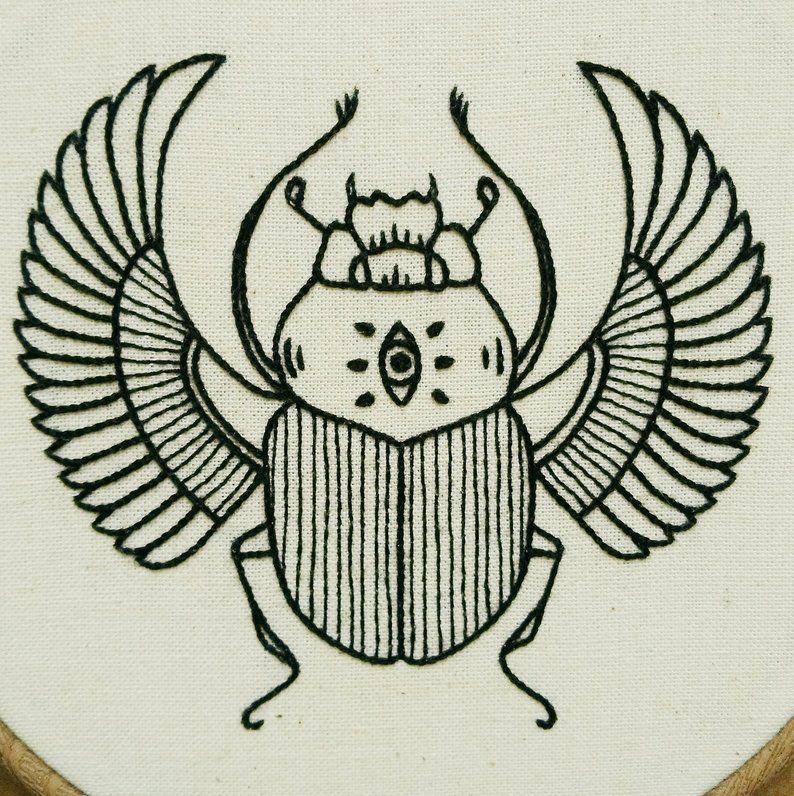 PDF pattern – Scarab Hand Embroidery Pattern (PDF modern embroidery pattern – Ancient Egypt)