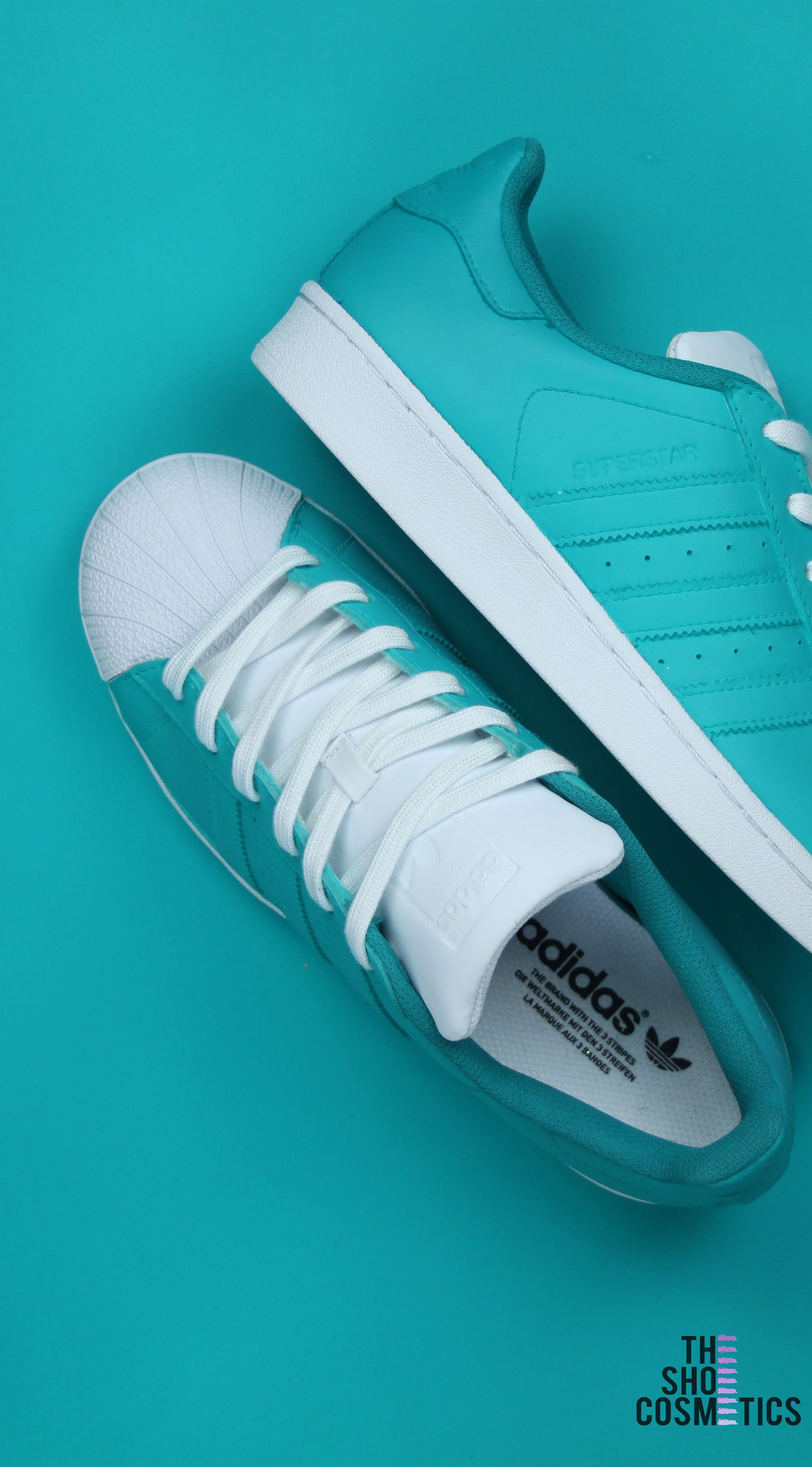 cheap for discount 120c3 8a90e Explore our Turquoise Adidas Superstar custom sneakers. Love custom painted  shoes Then these custom Adidas shoes are perfect for you.