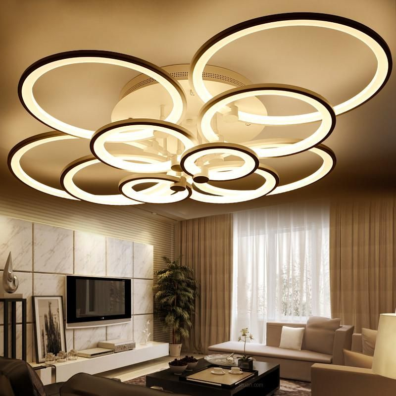 Lights & Lighting Modern Led Ceiling Chandelier Lamp Fixtures Square Circle Rings Chandelier For Living Room Bedroom Home Ac85-265v Beautiful In Colour