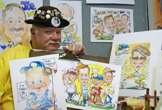 Artist Bill Crowley with samples of his collection.