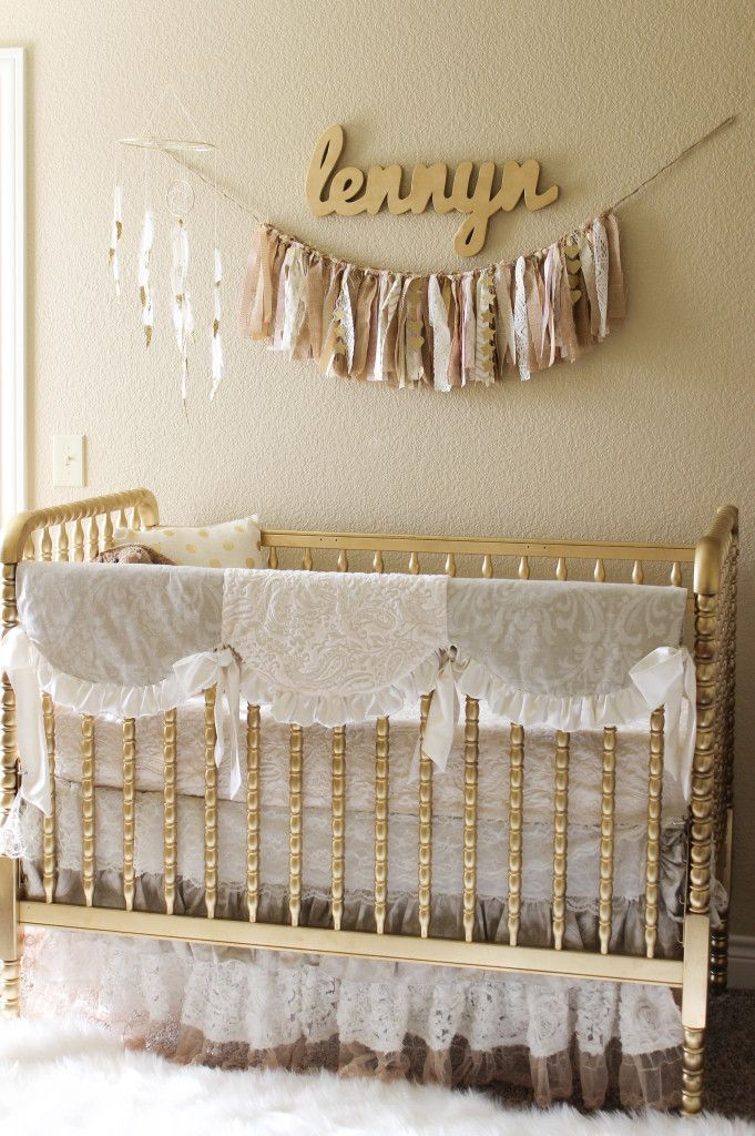 Gold Nursery With Lace Crib Bedding We Re Loving The Granny Chic Look In This Glam