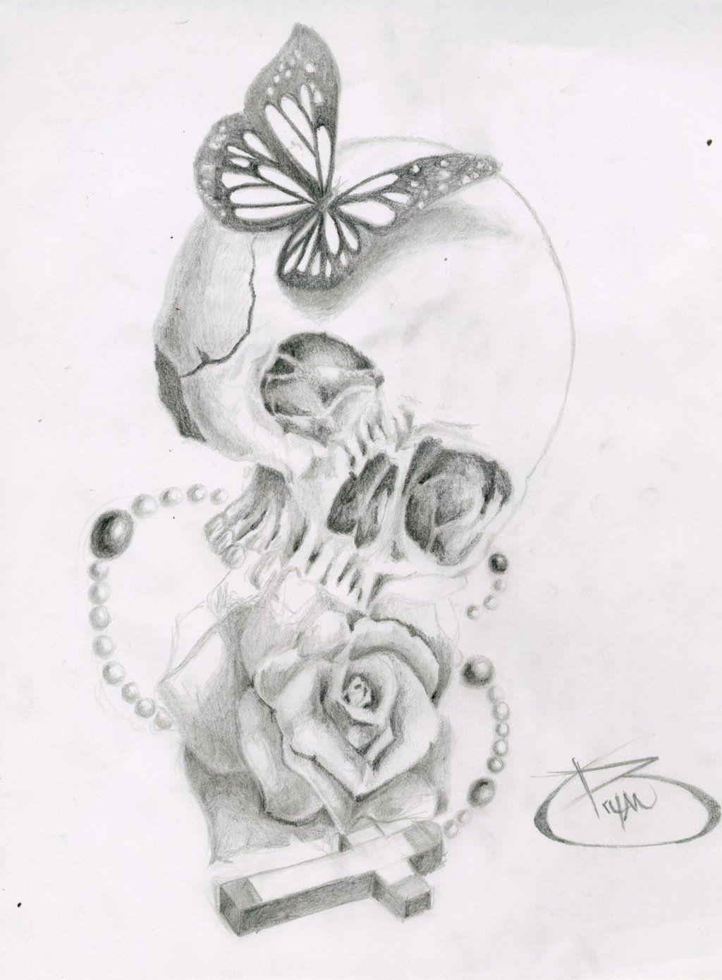 Skull, Butterfly, Rose, Cross by BryanChalas.deviantart ... Skull And Cross Drawing