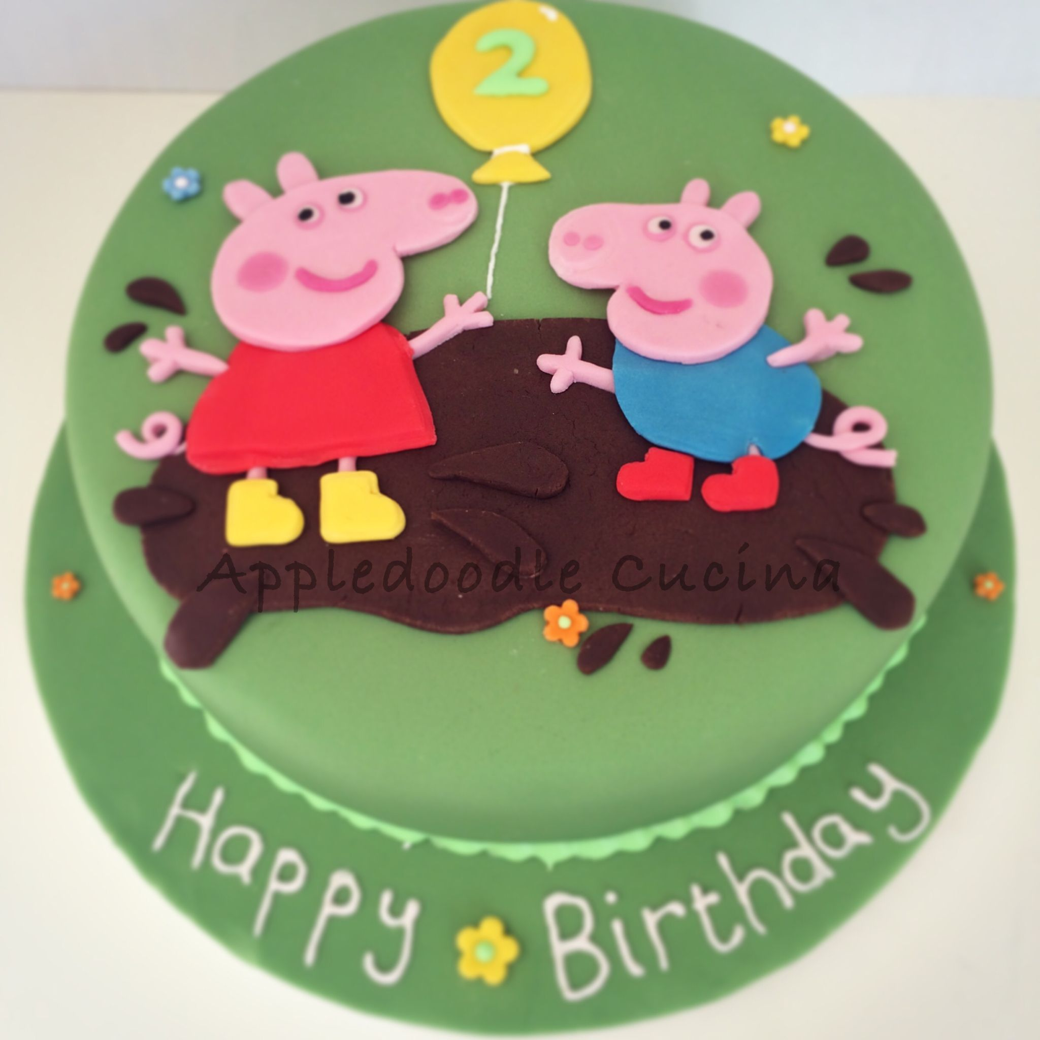 Peppa Pig Cake For 2nd Birthday Girl Yup Everyone Loves Jumping In Muddy Puddles Chocolate Muddy Puddles Peppa Pig Cake Pig Cake Cake
