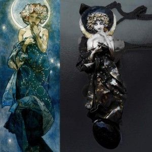 Alfons Mucha Księżyc - naszyjnik