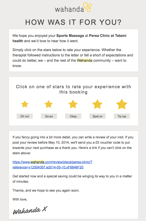 Wahanda  How Was It Earn  For Your Review  April   Email