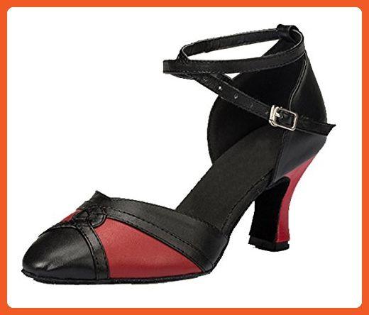 TDA Womens Comfort Mid Heel Knot Leather Salsa Tango Ballroom Latin Modern Dance Wedding Shoes