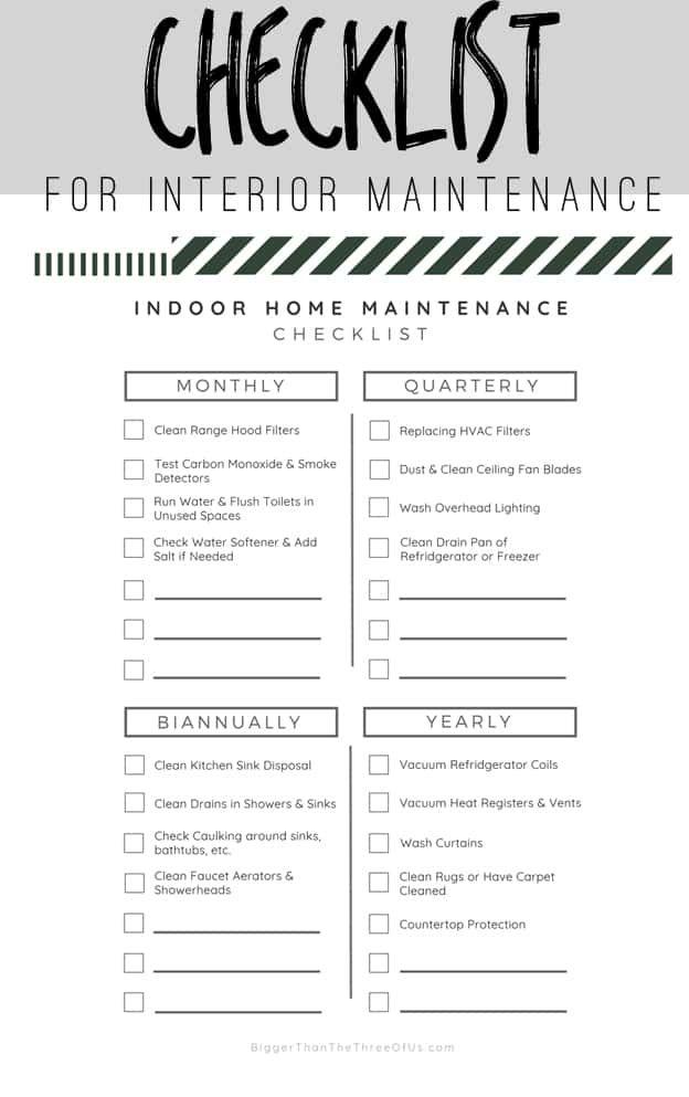 Interior Home Maintenance Checklist Home Maintenance Checklist Home Maintenance Maintenance Checklist