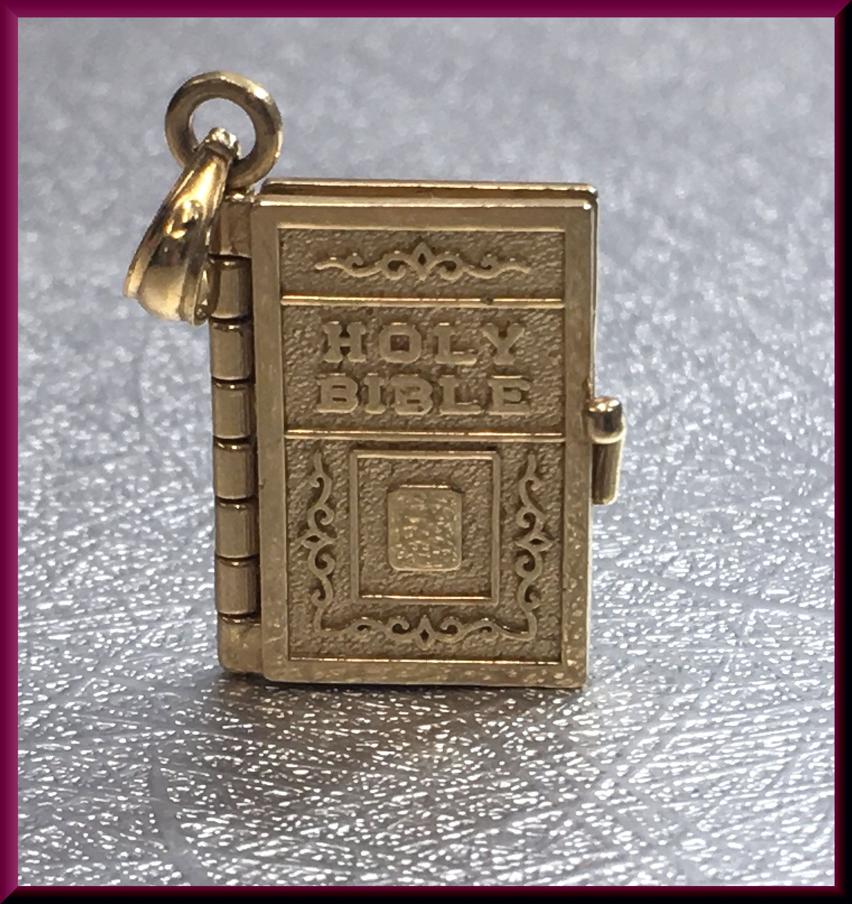 Holy Bible Charm Vintage Bible Charm Religious Charm Gold Charm Vintage Charm Lords Prayer Charm Bible Pendant Holy Bible Pendant