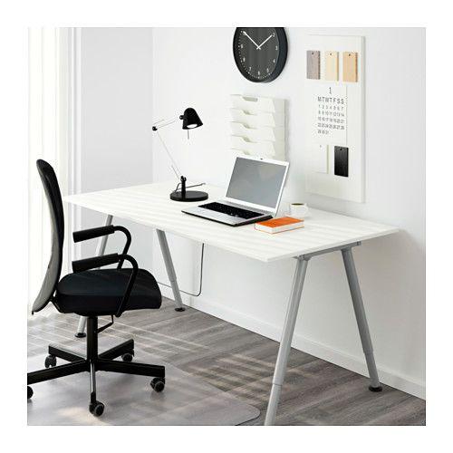 Schreibtisch Thyge Weiß Silberfarben Büro Arbeit Schreibtisch