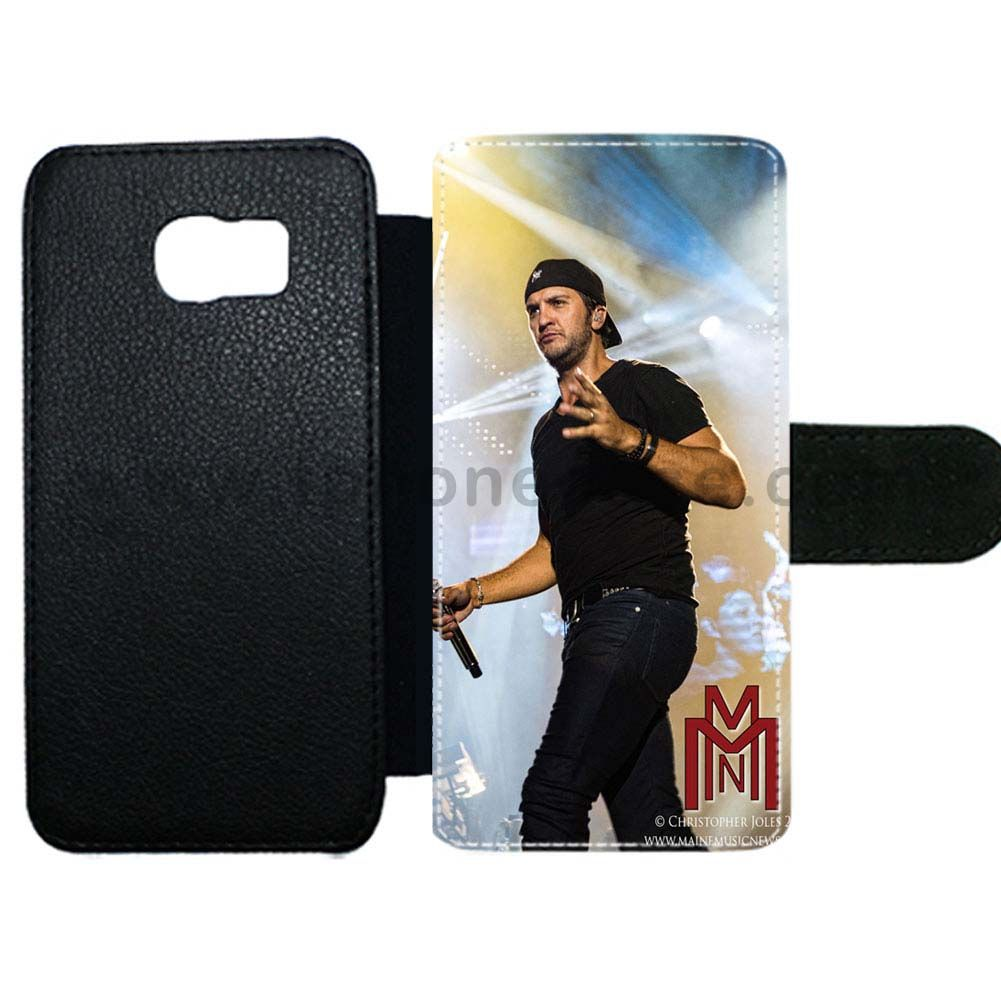 Galaxy s6 cover made by leather with card hold Design With luke bryan