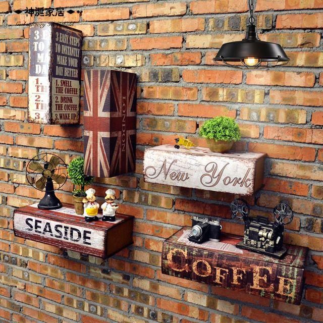 Vintage Wand Hngen Holz Buch Box Kunst Dekorative Bar Cafe Wohnzimmer Bekleidungsgeschft Schaufenster Requisiten
