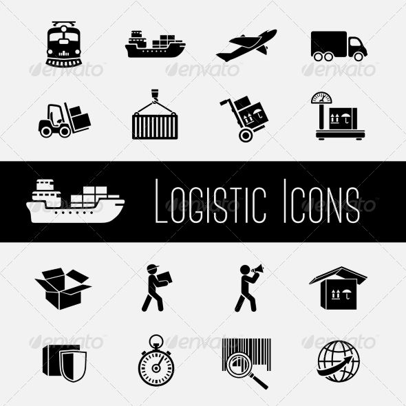 supply chain icons set by macrovector logistic global