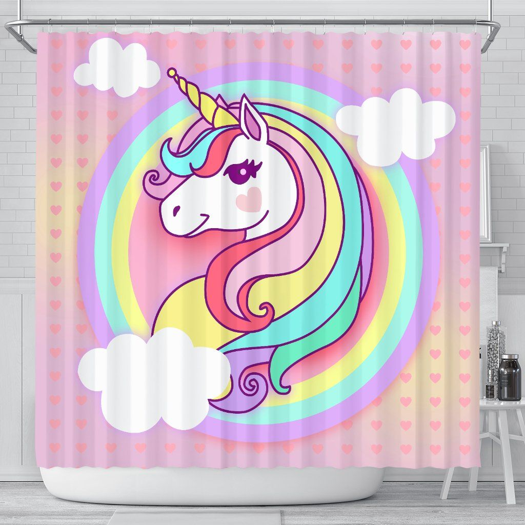 Sweet 3d Printed Pastel Unicorn Shower Curtain Shop For Sale